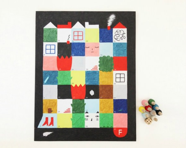 Wooden Square City Race Board Game by Colette Bream